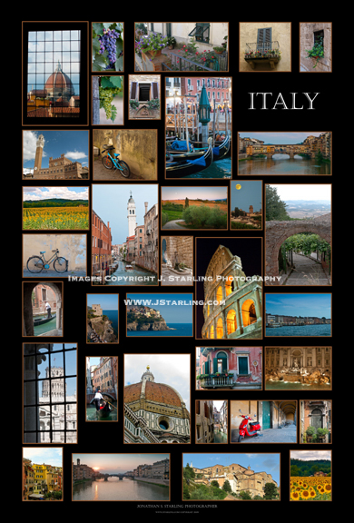 La Mia Bella Italia My beautiful Italy poster photography Italy Famous places in italy