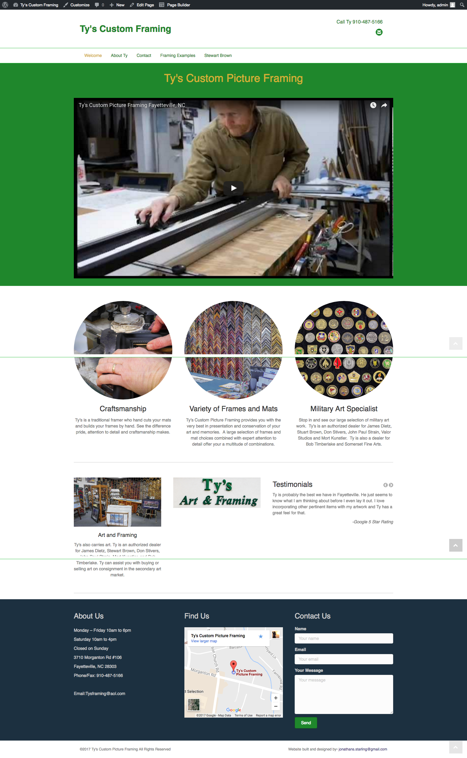Sample website design and layout from J. Starling Photography example of website creation for local and small business